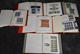 Seven Albums of Mint GB Elizabeth II Stamps, Booklets, Part Sheets, Airmail, Blocks, all well