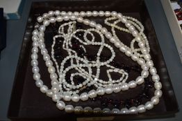A small selection of beads including mother of pearl, Honora baroque pearls, amethyst style tear