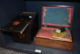 Two vintage boxes, one having hand painted leaf detailing an the other inlaid to top and sides