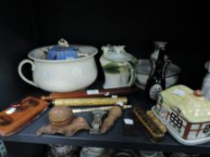 A selection of stationary and ceramics including carved inkwell in the form of a nut and a postal