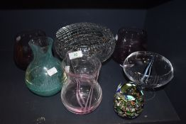 A selection of art glass including six pieces of Caithness and paper wieght