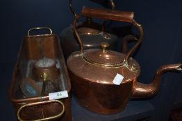 Two copper kettles, a planter,a cow bell and a smiths timer.