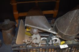 A box of vintage and modern tools and similar including sieve, file, funnel and more.