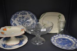 A selection of serving plates and platters including Crown Ducal and glass cake tazza