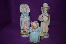 A Beswick Beatrix Potters 'Aunt Pettitoes' figurine and Two vintage grandpa and grandma figures.