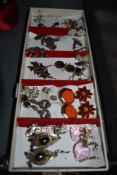 A selection of costume jewellery earrings including enamelled, diamante, murano glass etc