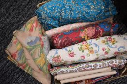 A mixed lot of fabric, mainly vintage including bark cloth, with a few modern pieces included,some