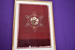 An interesting framed piece of embroidery,possibly a former scarf, shawl or clerical item?? Filigree
