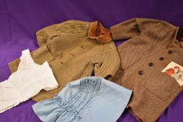 A Victorian blue cotton bonnet an camisole cover,and two childrens vintage wool coats.