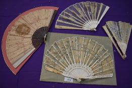A mixed lot of four fans, showing signs of damage and shattering,however,could be of use for study