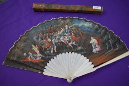 A late 17th/ early 18th century fan, painted to front with mythological battle scene and spray of