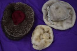 Three vintage 1960s hats, two mink and one fox fur.