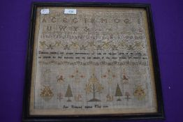 A Framed sampler with finish date of 1797, depicting Alphabet, animals and proverbs, and a name of