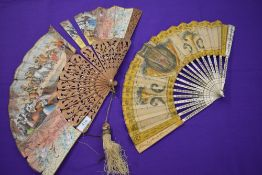 A lot of two fans, one lithographic fan circa 1850s, having fighting bull scene, carved wooden