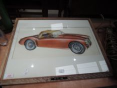 An original air brush painting of an MGA signed to back; Roy Williamson creative advertising 1956,