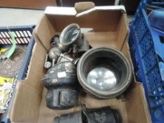 A collection of carbine and similar car and cycle lights and lamps including Lucas