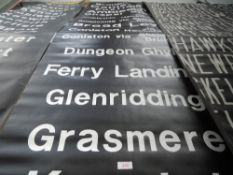 An original bus destination blind of local and lake district interest ,including Broughton,
