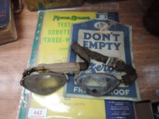 A pair of early 20th century machinists goggles,plus zero anti-freezing anti-fouling card and test