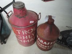 A large petrol can and a unusual Paraffin can reading Apprentice training room, these came from