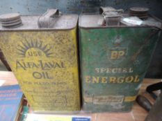 Two gallon advertising oil cans for BP Energol and Alfa-Laval.