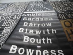 An original bus destination blind of local and lake district interest ,including Askam to