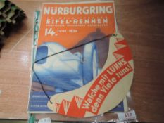 A Race programme for June 1936 Nurburgring with sought after original insert sun visor.