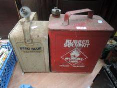 Two vintage garage tins including Esso blue and BP