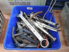 A selection of mould grips Whitworth spanners and similar.