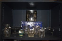 A selection of glass wares including tazza fruitbowl and lustre pot puri