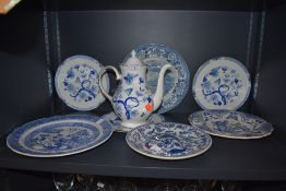 A selection of blue and white ware ceramics including Royal Grafton Dynasty, Spode and Chinese