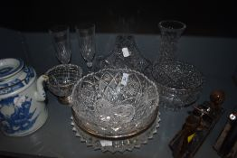 A selection of clear cut and crystal glass wares including fruit bowls
