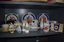 A selection of ceramics including New Hall Hanley part tea service