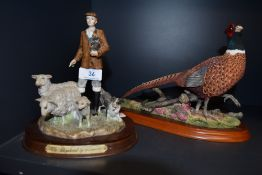 A Border Fine art style figure base and similar pheasant figure