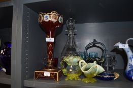 A selection of antique glass wares including vaseline and hand painted Bohemian garniture (AF)