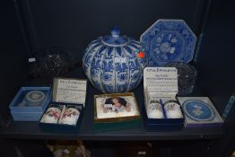A selection of ceramics including Wedgewood and Spode also large pumpkin style container