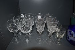 A selection of crystal glass wares including wine and port