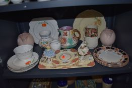 A selection of ceramics including hand decorated Peach design Vale and Majollica style jug