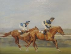 An oil painting, Grundy, The Derby 1975, horse racing interest, signed and dated (19)75, 50x 60cm,