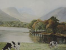 An oil painting, Ann Marshall Towers, Derwentwater, attributed verso, 32 x 48cm, framed and
