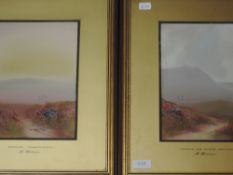 A pair of gouache paintings, Helen Holness, Evening Dartmoor and Across the Moors Dartmoor, signed