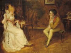An oil painting, Patrick, period drawing room conversation, 34 x 45cm, framed