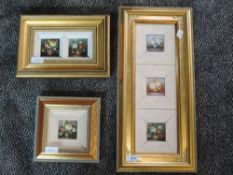 Three oil paintings on board, multi still life, 39 x 12cm, 8 x 16cm, and 5 x 5cm, framed