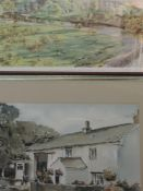 A watercolour, Norman Inston, Bank House Farm Silverdale, signed and attributed verso, framed and