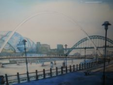 A limited edition print, after D Halliday, Newcastle quayside, numbered 8/100, signed and dated