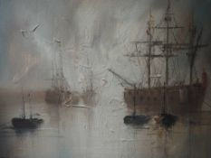 An oil painting John Bampfield, galleons at sea, signed, 30 x 40cm, framed