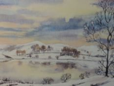 A watercolour, Pat Smith, Winter at Loughrigg Tarn, signed and attributed verso, 20 x 35cm, framed