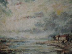 An oil painting on board, J W Taylor, Sunderland Point, signed and attributed verso, 47 x 66cm,