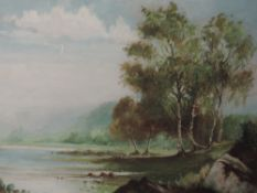 An oil painting, A Howarth, river landscape, signed, 40 x 60cm, framed and glazed