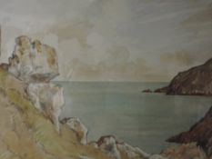 A watercolour, JSC, coastal landscape, indistinctly signed, 24 x 34cm, framed and glazed