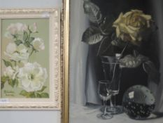 An oil painting on board, Stella Lane, dog roses, signed, 28 x 17cm, framed